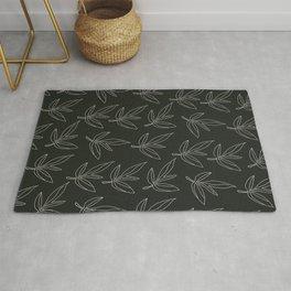 Minimal Line Art Leaf Pattern Black Rug