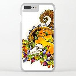 Cornucopia with squash, figs, acorns, crystals, and bat skull Clear iPhone Case