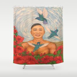 Drawing Spring Amazed By The Hummingbirds Shower Curtain