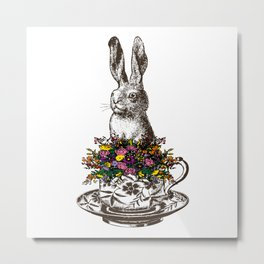 Rabbit in a Teacup | Rabbit and Flowers | Bunny Rabbits | Bunnies | Easter Rabbits | Hares | Metal Print