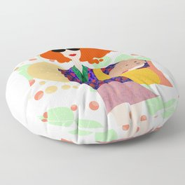 Girl with the Dog Floor Pillow