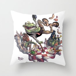 Frog on The Table Throw Pillow