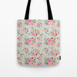 Embroidered Flowers - Light Tote Bag