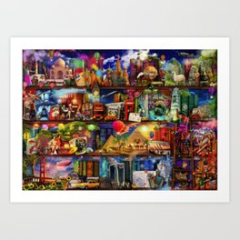 World Travel Book Shelf Art Print