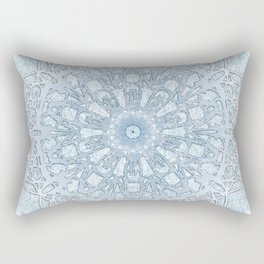 Frozen Aqua Mandala Rectangular Pillow