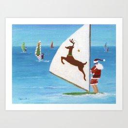 Christmas Wind Sailing Santas Art Print