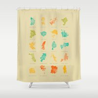 cities Shower Curtains featuring Pop Cities by Nicksman