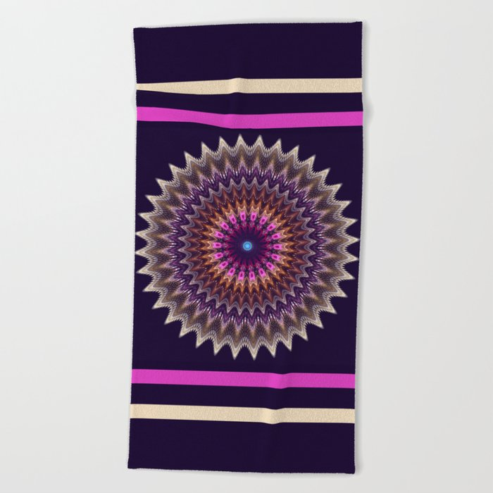 Groovy starry mandala with tribal patterns Beach Towel