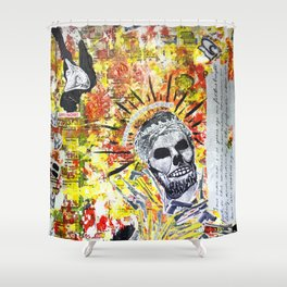 Truth the Fallen King Mixed-Media Collage Shower Curtain