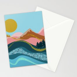 Landscape in blue tones, coral, caramel and gold Stationery Cards