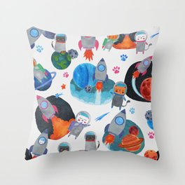 Watercolor Space Cats Rocket Ship Galaxy Pattern Throw Pillow