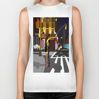broadway Biker Tanks featuring BROADWAY KISS by Alfred Fox Art & Photography