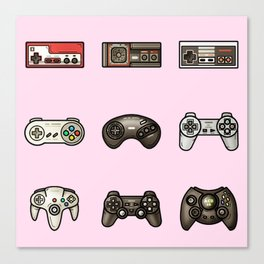 Retro Game Controllers Light Pink Canvas Print