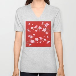 Cherry Blossom - Red Unisex V-Neck