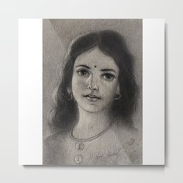 Indian Girl - in Charcoal Metal Print