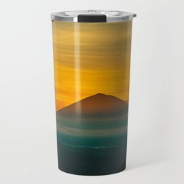 Mountain Volcano In The Distant Green Yellow Orange Sunset Hues Landscape Photography Travel Mug