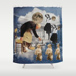 GO FETCH THE MOON Shower Curtain