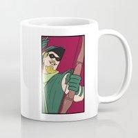 green arrow Mugs featuring Green Arrow by Chelsea Herrick