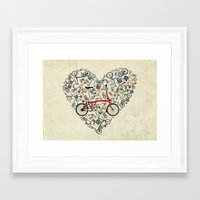 brompton Framed Art Prints featuring I Love Brompton Bikes by Wyatt Design