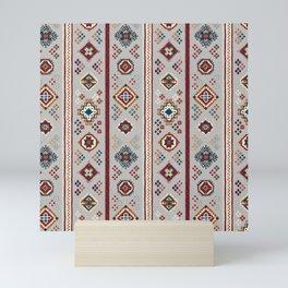Caucasian Rugs(Stripe) - White Mini Art Print
