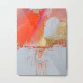Insight: a minimal, abstract painting in reds and golds by Alyssa Hamilton Art Metal Print