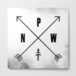 PNW Pacific Northwest Compass - Black and White Forest Metal Print
