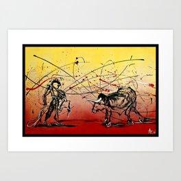 Yo y Un Toro Llamado Vida (Me and a Bull named Life) Art Print