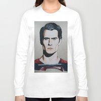 man of steel Long Sleeve T-shirts featuring Superman (Man of Steel) by JH Art