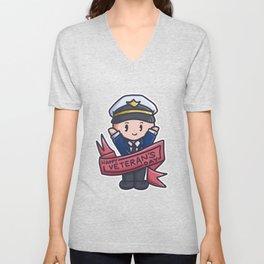 Veteran Parade proud soldier Captain Comic Gift Unisex V-Neck
