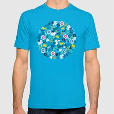 Fresh Flora Teal Mens Fitted Tee SMALL