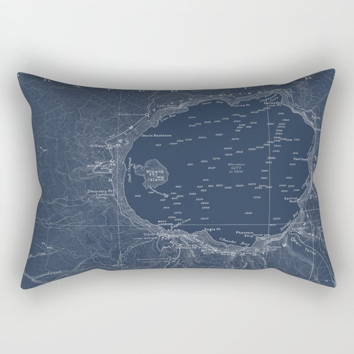 Crater Lake Blueprint Map Design Rectangular Pillow