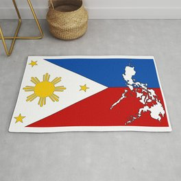 Philippines Flag with Filipino Map Rug
