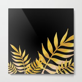 Golden watercolor leaves 2 Metal Print