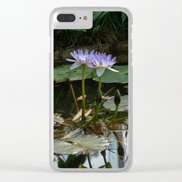 Purple Lilypad Flowers are Blooming in Spring Clear iPhone Case