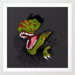 Agressive t rex. Art Print