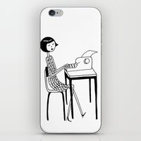 typewriter iPhone & iPod Skins featuring Typewriter by flapper doodle