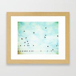 Birds Flying in Sky, Birds on Wires, Aqua Sky Nursery Art, Turquoise Pastel Nature Photo Framed Art Print