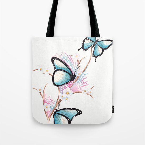 Watercolour Butterflies on Apple Blossom Tote Bag