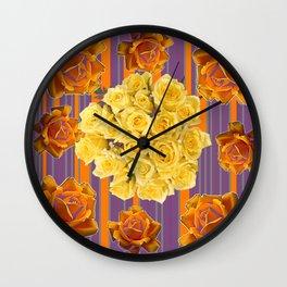 YELLOW ROSES PUCE STRIPE PATTERN Wall Clock