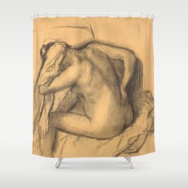 After the Bath, Woman Drying Her Hair Shower Curtain