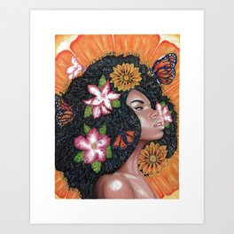 Summer Time Black Woman Art Print