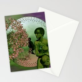 the mirrored fractal woman Stationery Cards