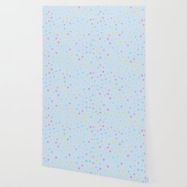 Multicolour Polka Dots on Blue Background Wallpaper