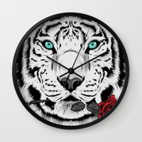 rose Wall Clocks featuring Rose by Roland Banrevi