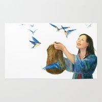 korean Area & Throw Rugs featuring Korean Cinderella: Swallows by Jen Betton