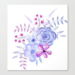 Purple and Blue Watercolor Flowers Canvas Print