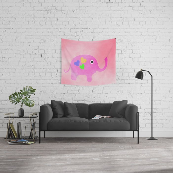 Pink Elephant Wall Tapestry