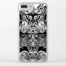 Black and White swirls Clear iPhone Case