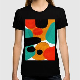 Mid Century Modern Abstract Minimalist Retro Vintage Style Rolie Polie Olie Bubbles Teal Orange T-shirt