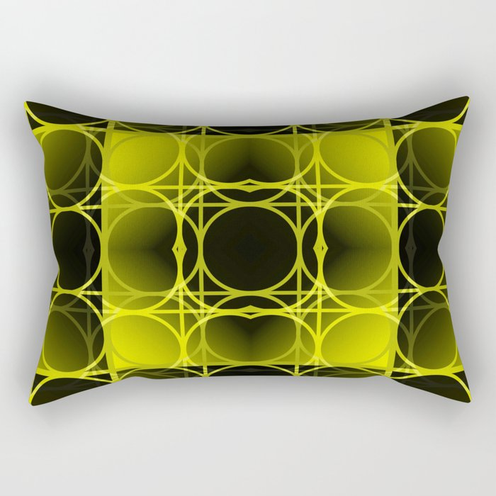 Circles, Grids and Shadows in Black and Yellow Rectangular Pillow